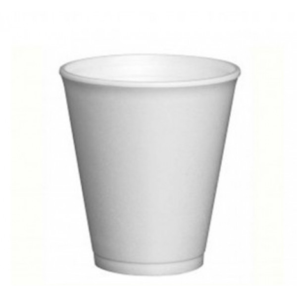 White isothermal foam cups, 10 oz - package of 25 cups