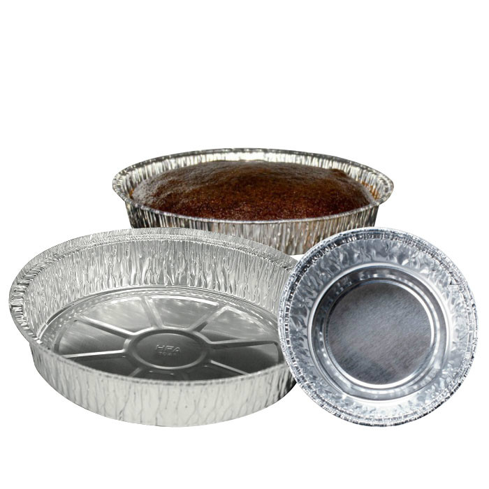 Disposable round aluminum food containers
